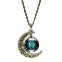 Vintage Bronze Crescent Moon Necklace with  Glass Virgo Cabochon Pendant