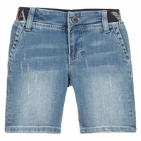 Boys Faded Blue Jeans Shorts with Waistband