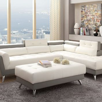 White and Grey Bonded Leather Modern Sectional Sofa