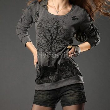 Women's Good Elastic Autumn And Winter Top Blouse Tree Pattern Rivet Bottoming Shirt VVF = 1920266372