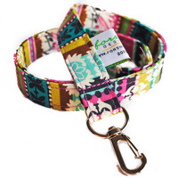 Fabric Lanyard ID Badge Holder -- Jewel Stripe -- Ready To Ship
