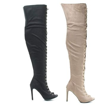 Onelove61m By Anne Michelle, Peep Toe Corset Elastic Lace OTK Over Knee High Heel Dress Boots