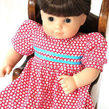 Baby Doll Dress Flowered Red White Blue 4th of July Birthday Party Summer Spring Bitty Twin 14 to 16 inch Clothes --US Shipping Included
