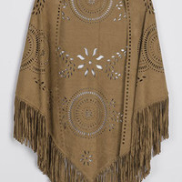 Cupshe Slash Into View Hollow Suede Cape