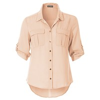 Soft Button Down 3/4 Roll Up Sleeve Chiffon Blouse Top with Pockets (CLEARANCE)