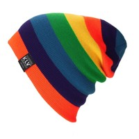 New Winter Men Women Beanies Striped Rainbow Colors Hat Cotton Knitted Hats for women Soft Beanie Gorro Cap
