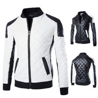 Black and White Zip Faux Leather Biker Jacket