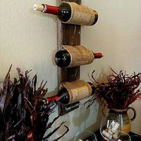 Wine rack wooden Country Decor , Gift, custom , Personalize Unique Rustic wood Wine Rack Wall Rack