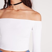 Missguided - Long Sleeve Jersey Bardot Crop Top White