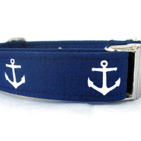 Nautical Dog Collar with Nickel Hardware - Anchors on Navy