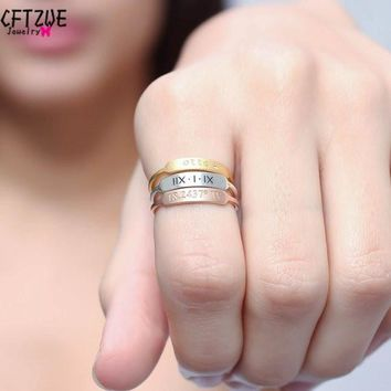 ICFTZWE Gold Silver Custom Toe Ring Bague Femme Anel Personalized Name Roman Numbers Initial Stacking Bar Rings For Women Men