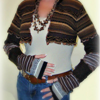 Brown Shrug, Bolero Shrug, Sweater Shrug, Long Sleeve Shrug, Patchwork Shrug, Upcycled Clothing, Dancers Shrug, Sweaterlove