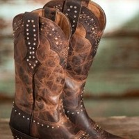Ariat Ladies Rhinestone Cowgirl Boots 10 Brown