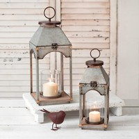 Set of Two Galvanized Candle Lanterns with Wood Base