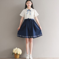EMBROIDERY EMBROIDERY JAPANESE DRESS COLOR SHORT-SLEEVED COTTON AND LINEN DRESS TIDE