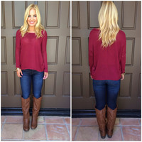 Apple Of My Eye Sweater - BURGUNDY