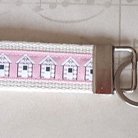 Pink Beach Hut Key Ring, Seaside Key Fob, Holiday Home Key Chain, Student Gift, Back to School, Bag Tag, New Driver Gift, Girlie Key Holder
