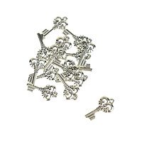 Small Skeleton Key Charms, Silver, 1-Inch, 15-Piece