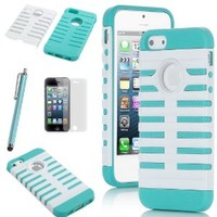 Pandamimi ULAK Deluxe Aqua Blue & White Fashion Sweety Girls TPU + PC 2-Piece Style Hard Case Cover for Apple iPhone 5S 5 5G + Screen Protector + Stylus