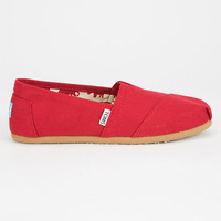 Toms Womens Canvas Classic Slip-Ons Red  In Sizes