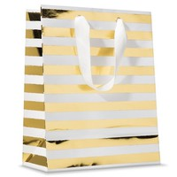 Sugar Paper Gold and White Striped Gift Bag