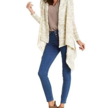 Beige Combo Chunky Marled Cascade Cardigan Sweater by Charlotte Russe