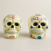 Los Muertos Skull  Candles, Set of 2 - World Market