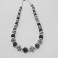 Denim Dreams Sodalite and Antiqued Silver Bead Necklace on Handmade Artists' Shop