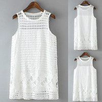 White Lace Plaid Cut-Out Sleeveless Blouse