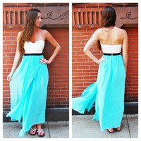 Turquoise Strapless Maxi Dress with Lace Top & Slit Skirt