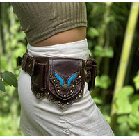 Medieval Pouch Bag Leather Belt Purse Wallet Men Women Steampunk Viking Pirate Cosplay Renaissance Gear Waist Pockets For Adult (Brown One Size cosplay  costume)
