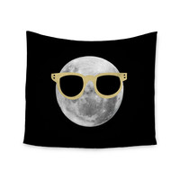 """Chelsea Victoria """"Mr. Moon"""" Yellow Illustration Wall Tapestry"""