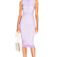Victoria Beckham Sleeveless Linear Fitted Midi Dress in Lilac | FWRD
