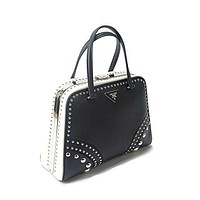 Prada Dual-Tone Saffiano Cuir Leather Block Color Studded A-Frame Dual Strap Hand Bag