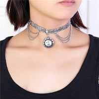 Glass Sunflower Boho Choker