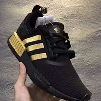 Versace x Adidas NMD_R1 Black/Gold Sneakers Trending Running Sports Shoes H 8-25