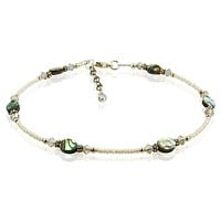 Gray Opal Green Abalone Shell Anklet