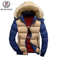 Men's Fur Collar Parka  Thick Hooded Winter Coat Outerwear