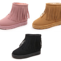 Womens Trendy Fringe Winter Ankle Boots