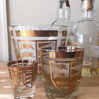 Utd Glass Gold Whiskey Tumbler and Shot Glass Set, Mid Century Gold Cocktail Glasses, Mid Century Modern Barware
