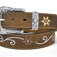 Nocona Ladies Western Embroidered Brown Leather Belt
