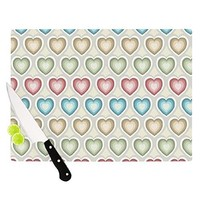 "Kess InHouse Julia Grifol ""My Hearts"" Cutting Board, 11.5 by 15.75-Inch, Multicolor: Kitchen & Dining"
