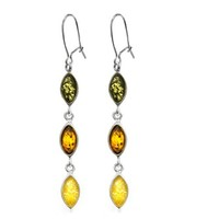 Sterling Silver Multicolor Amber Marquise-Shaped Long Earrings