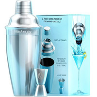 Cocktail Shaker Bar Set by Kitchen Joy - Premium Bundle with Jigger and Built-In Strainer 24oz and FREE Recipes eBook