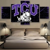 TCU Horned Frogs: 5pc TCU Frogs Wall Art; 3 sizes available, with or without frames