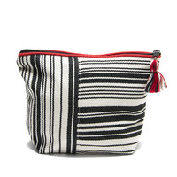Striped Black and White Cosmetic Bag