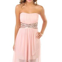 strapless criss cross high low tulip party dress - debshops.com