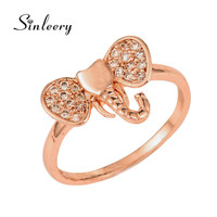 SINLEERY Bohemia Women CZ Stone Finger Rings Size 7 8 With Cubic Zircon Stone Elephant Animal Rings Rose Gold Color JZ431
