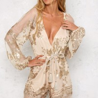 Champagne Fantasies Playsuit Gold