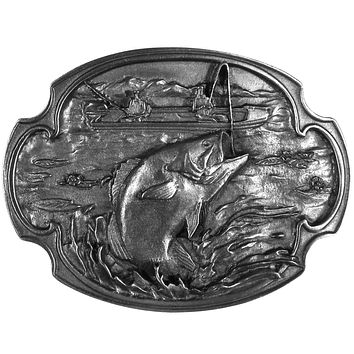 Sports Jewelry & AccessoriesSports Accessories - Bass Fishing Antiqued Belt Buckle
